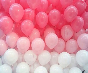 pink, white, and balloons image