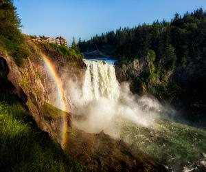 nature, rainbow, and waterfall image