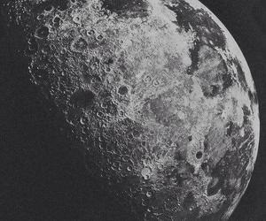 moon, black and white, and space image