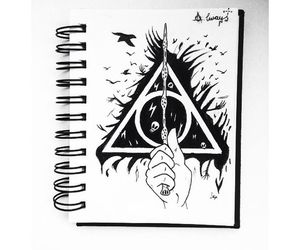 art, deathly hallows, and drawing image