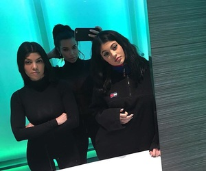 kylie jenner, kourtney kardashian, and kim kardashian image