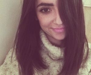 brunnette, eyebrows, and sweater image