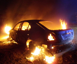 burning, car, and fire image
