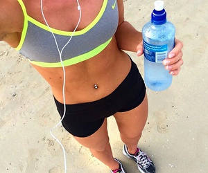 beach, water, and fit image