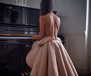 girl, piano, and halfnaked image