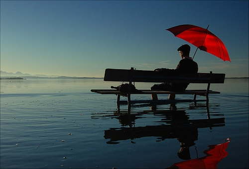 red, water, and umbrella image
