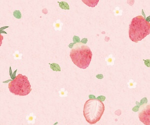 wallpaper, strawberry, and pink image