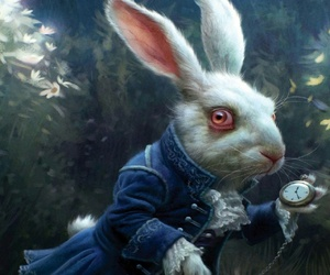 aliceinwonderland, wallpaper, and rabbit image