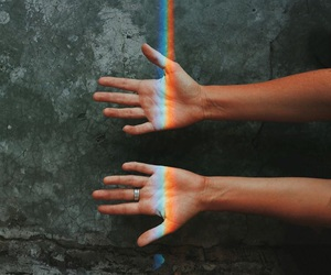 hands and rainbow image