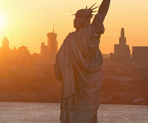 new york, city, and statue of liberty image