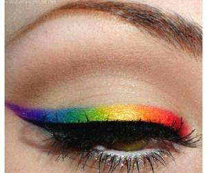 cool, rainbow, and eye makeup image