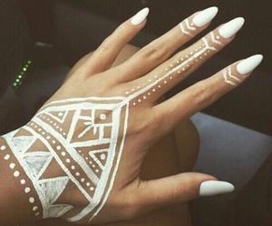 nails, white, and henna image