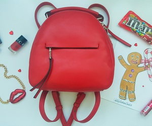 bag, jewelry, and red image