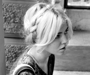 black and white, blonde, and braid image