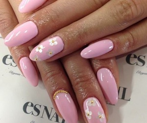 nails, flowers, and rhinestones image