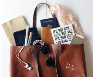 bag, travel, and passport image