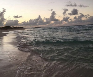 beach, waves, and clouds image