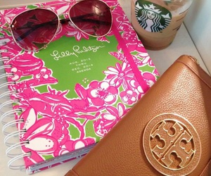 preppy, starbucks, and tory burch image