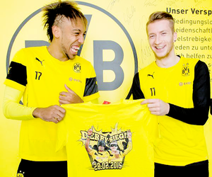 marco reus, aubameyang, and batman image