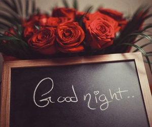 good night, flowers, and rose image