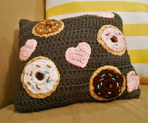 crochet, donuts, and hearts image
