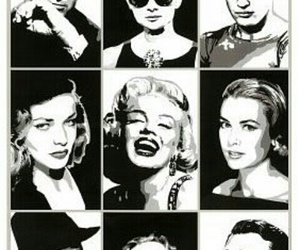 Marilyn Monroe, audrey hepburn, and black and white image