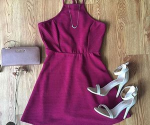 dress, spring dress, and burgundy dress image