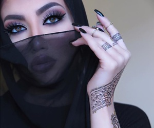 makeup, henna, and eyes image