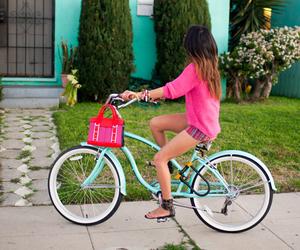 girl, bike, and pink image