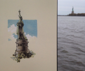 drawing, new york, and statue of liberty image