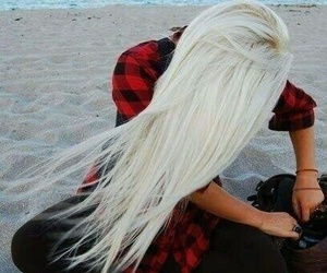 hair, blonde, and beach image