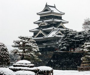 castle, japan, and snow image