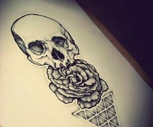tattoo, skull, and drawing image