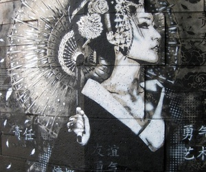 art, geisha, and graffiti image