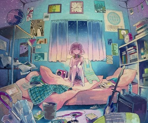 anime, room, and anime girl image
