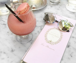 drink, sunglasses, and pink image