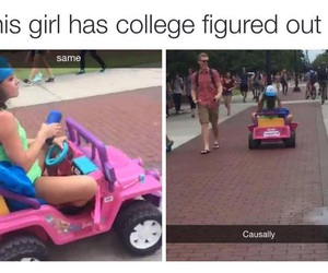 girl, college life, and toy jeep image