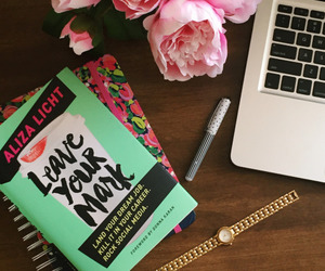 book, flowers, and mac image