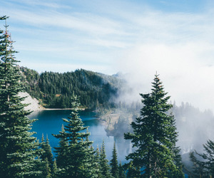 clouds, lake, and nature image