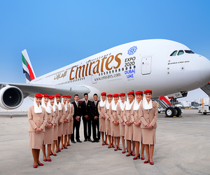 flight attendant, cabin crew, and fly emirates image