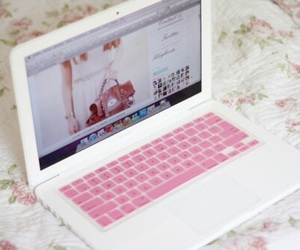 pink, laptop, and white image