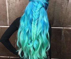 braid and blue and green hair image