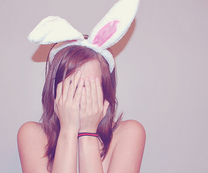 girl, cute, and bunny image