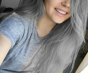girl, hair, and grey image