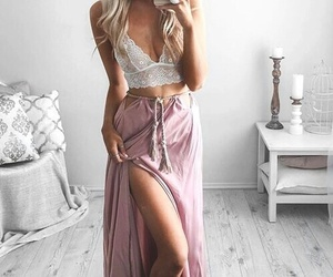 fashion, outfit, and pink skirt image