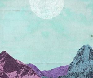 draw, moon, and mountains image
