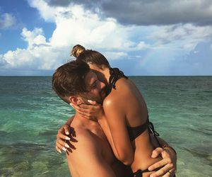 beach, couples, and hugs image