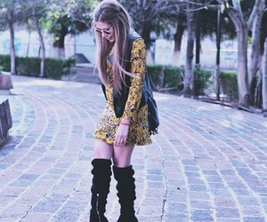 dress, yellow, and long boots image