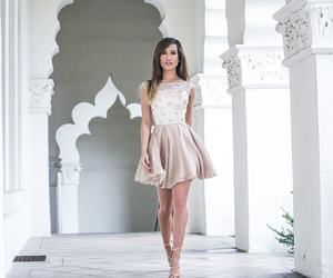 gold, short dress, and Prom image
