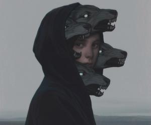 wolf, art, and dark image